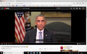 アップされたオバマ元大統領のディープフェイク動画。素人目にはフェイクには見えない(動画投稿サイト「YouTube」より)