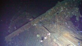 韓国領・鬱陵島沖の海底で発見したと発表されたロシア海軍の巡洋艦「ドミトリー・ドンスコイ」(聯合=共同)