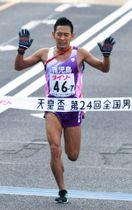 6位入賞した鹿児島チームのアンカー、市田宏(旭化成)=広島市