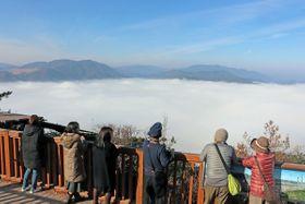 真っ白な朝霧に包まれた亀岡盆地(10日午前10時すぎ、亀岡市曽我部町・かめおか霧のテラス)