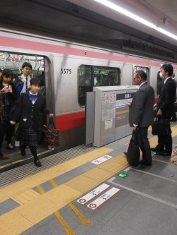 降りた人が進む方向、乗る人が進む方向が示されている=東急東横線・副都心線渋谷駅