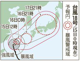 台風18号の予想進路(15日0時現在)