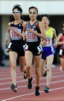 アシックスチャレンジ女子5000メートル決勝 16分9秒58で優勝したワコールの谷口真菜(510)=撮影・鈴木雅之