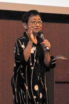 虐待した親の立ち直り支援の必要性を訴える森田さん=香川県高松市サンポート、かがわ国際会議場