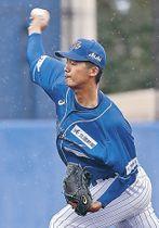 6回無失点で2勝目を挙げた石川の内田=金沢市民野球場