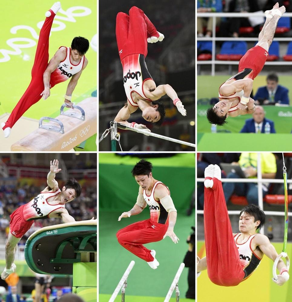2016年リオデジャネイロ五輪体操男子個人総合で金メダルを獲得した内村航平の演技。(左上から時計回りに)あん馬、鉄棒、床運動、つり輪、平行棒、跳馬(共同)