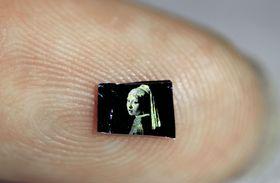 ポリマーに光を照射して作製された、指先より小さなサイズの名画(iCeMS提供)
