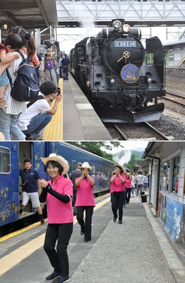 (上)花巻駅で出発前の様子。このSLは現役時代も主に岩手県で活躍した、(下)15分停車した宮守駅では「宮守ずーっとプチエンジェル」がダンスで乗客をおもてなし