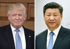 トランプ米大統領(UPI=共同)、中国の習近平国家主席