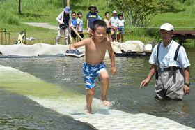 水上ゴザ渡りに挑戦する子どもら=富士市の富士山こどもの国