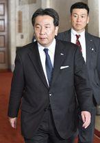 野党党首会談に臨む立憲民主党の枝野代表=6日午後、国会