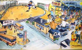 温泉街として賑わい、プロ野球キャンプも行われた昭和時代の場面