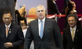 タイ・バンコク近郊で開かれた国際会議に出席したアンドルー英王子(中央)=3日(AP=共同)
