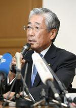 記者会見するJOCの竹田恒和会長=15日午前、東京都渋谷区