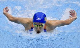 成年女子200メートル個人メドレー決勝 2分9秒00の大会新で優勝した滋賀・大橋悠依のバタフライ=山新スイミングアリーナ