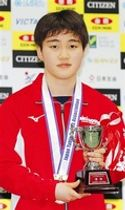 ジュニアの部女子シングルスで優勝し、トロフィーを手にする大藤沙月=大阪府大阪市の丸善インテックアリーナ大阪