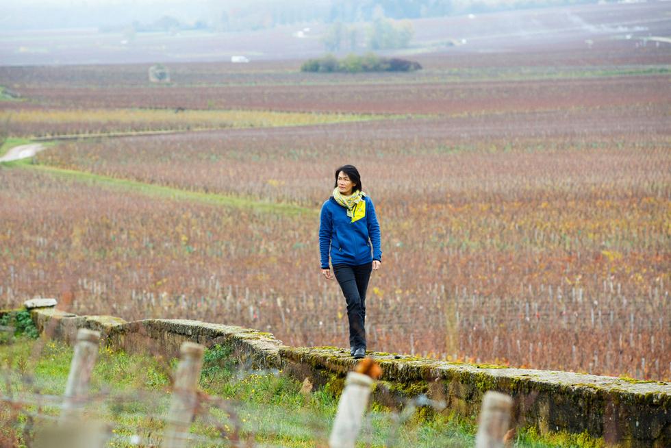 フランス中部サビニー・レ・ボーヌ村のブドウ畑を歩くビーズ千砂。彼女の視線の先にドメーヌ・シモン・ビーズの所有する畑がある(撮影・沢田博之、共同)
