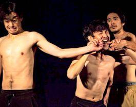 BTFで「ギ兄弟 3on3」を上演するUSUNDAYの(右から)神田青さん、朝海雅愛さん、福地涼さん(提供)