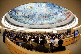20日、ジュネーブで開かれた国連人権理事会(ロイター=共同)