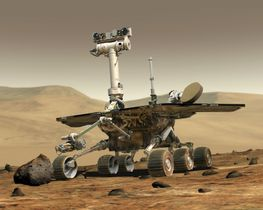 火星表面で活動する無人探査車「オポチュニティー」の想像図(NASA提供)