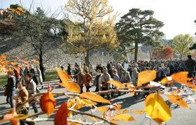 一般公開が始まった皇居・乾通りで、見頃を迎えた紅葉を眺める人たち=2日午前