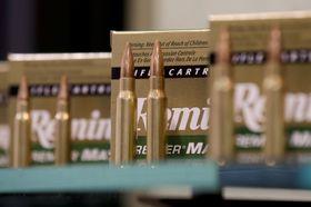 米ラスベガスでの展示会に出品されたレミントンのライフル銃の弾=2013年1月(AP=共同)
