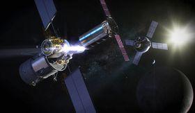 月を周回する新宇宙ステーション「ゲートウエー」のイメージ(NASA提供・共同)