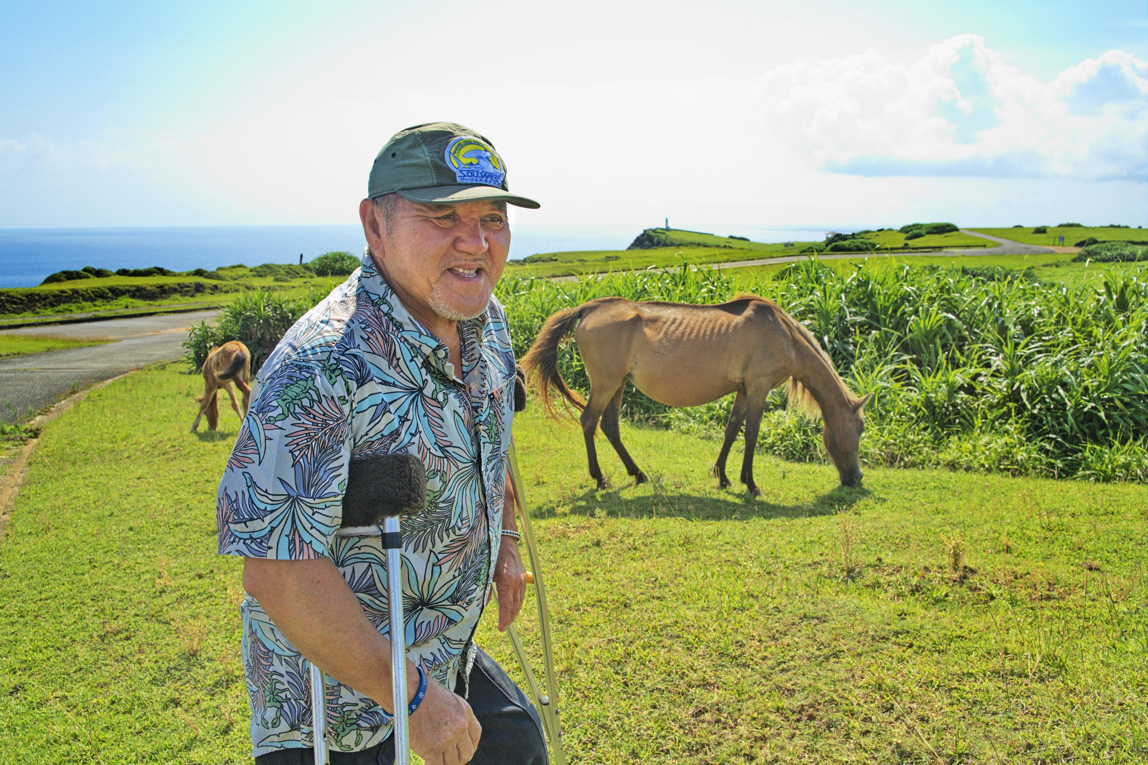 島を案内する新嵩喜八郎。丘の上では日本在来馬の一種である与那国馬が草を食べていた=沖縄県与那国町