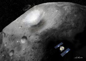 はやぶさ2が分離(ぶんり)した装置が、小惑星表面にクレーターをつくる場面の想像(そうぞう)図(JAXA提供)