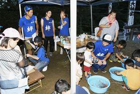 そろいのTシャツを着て祭りの運営を手伝う旅人たち(香南市)