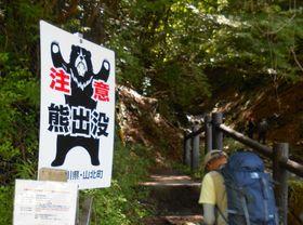 西丹沢の登山口に設置されたクマ出没の注意看板=山北町