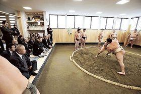 東関親方が見守る中新しい土俵で稽古を行う若手力士ら=18日午前、東京都葛飾区の東関部屋