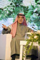 国際メディアフォーラムで発言するサウジアラビアのシャバナー情報相=2日、リヤド(共同)