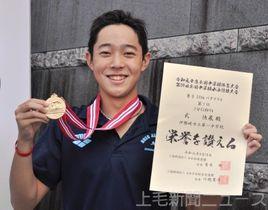 男子200メートルバタフライを県中学新記録で優勝した伊勢崎一の武