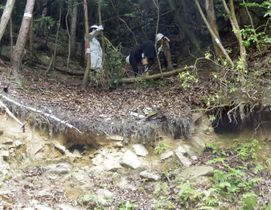 広島土砂災害で土石流が発生した山の斜面に観測機器を設置する研究チーム=2018年5月、広島市安佐北区