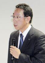 日本原燃の次期社長に内定し、記者会見する増田尚宏特別顧問=7日午後、青森市