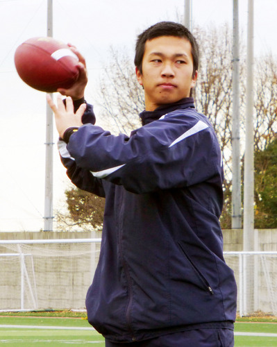 来季、最終学年のエースQBとして飛躍が期待される斎藤=12月24日、兵庫県西宮市の関学大