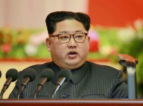 北朝鮮の労働新聞が掲載した、12日に平壌で行われた軍需工業大会で演説する金正恩朝鮮労働党委員長の写真(コリアメディア提供・共同)