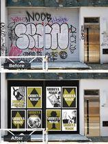 落書きされた壁のイメージ(上)と広告に活用された壁のイメージ(いずれも東急電鉄提供)
