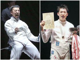 男子サーブルで優勝した徳南堅太(左)、男子エペで優勝した見延和靖(右)=東京グローブ座(代表撮影)