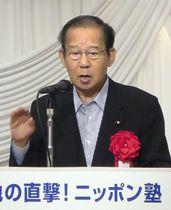 東京都内で講演する自民党の二階幹事長=22日