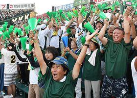 全国各地から集まった鶴岡東ナインの家族らが大声援で選手を鼓舞した=兵庫県西宮市・甲子園球場