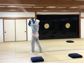 延暦寺の宿坊で実施した施工の様子