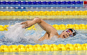 湯本・鈴木...『最後の夏』泳ぎ抜いた 県高体水泳代替・新人大会