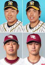 (左上から)大山悠輔、梅野隆太郎。(左下から)浅村栄斗、茂木栄五郎(ともに(C)Rakuten Eagles)