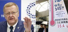 IOC調整委のコーツ委員長(左)、猛暑を記録した埼玉県熊谷市の大温度計(右)