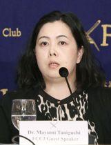 メディアにおけるセクハラ問題で記者会見する大阪国際大の谷口真由美准教授=21日午後、東京・有楽町の日本外国特派員協会
