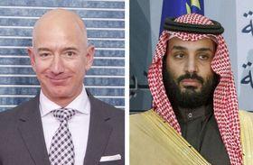 米アマゾン・コムのベゾスCEO、サウジアラビアのムハンマド皇太子(いずれもゲッティ=共同)