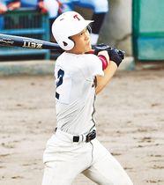 高岡商-高岡第一 4回表高岡商1死二塁、右中間に適時三塁打を放つ藤井