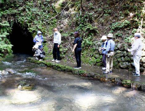 観音水で散策を楽しむ「GoToジオツアー」参加者=4日午前、西予市宇和町明間